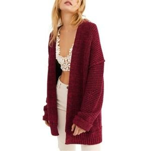 Free People Red Chunky Knit Open Front Cardigan